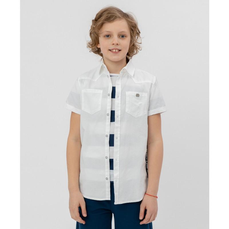 Белая рубашка с коротким рукавом Button Blue