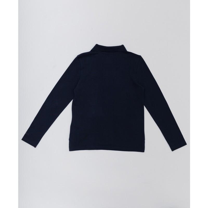 Синее поло с длинным рукавом Button Blue (фото 2)