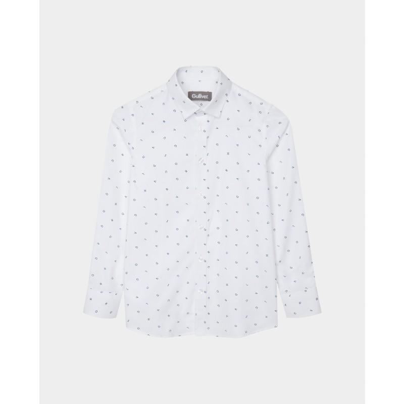 Белая рубашка с принтом Gulliver