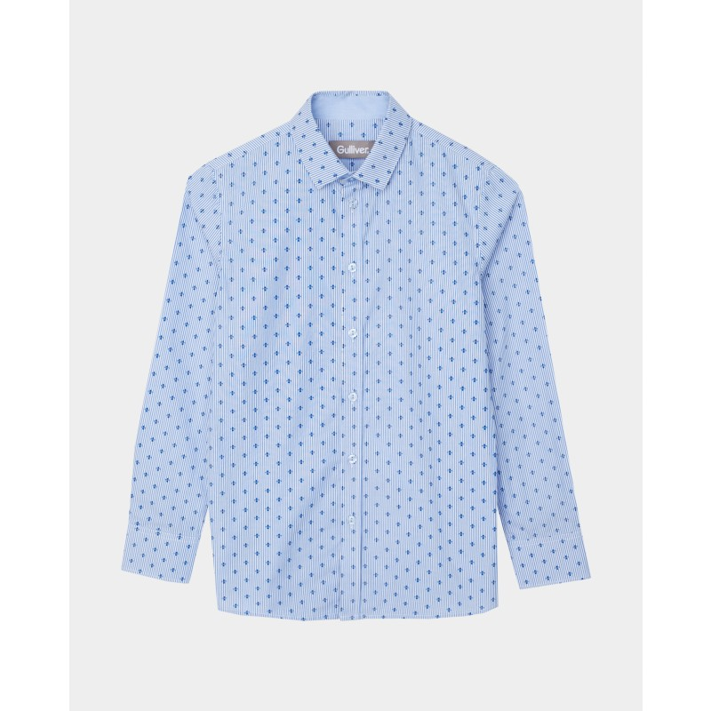 Голубая рубашка с принтом Gulliver (фото 3)