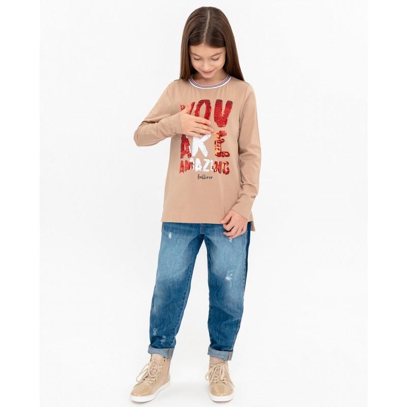 Бежевая футболка с длинным рукавом Gulliver (фото 5)