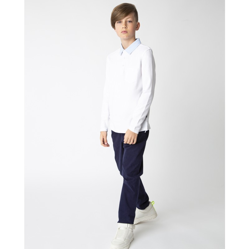 Белое поло с длинным рукавом Gulliver