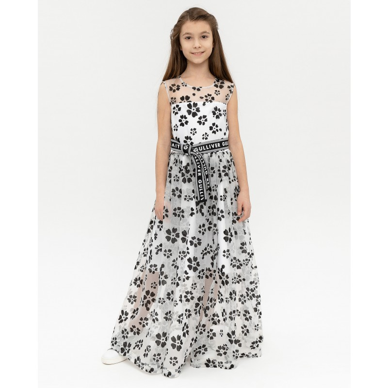 Белое нарядное платье с принтом Gulliver
