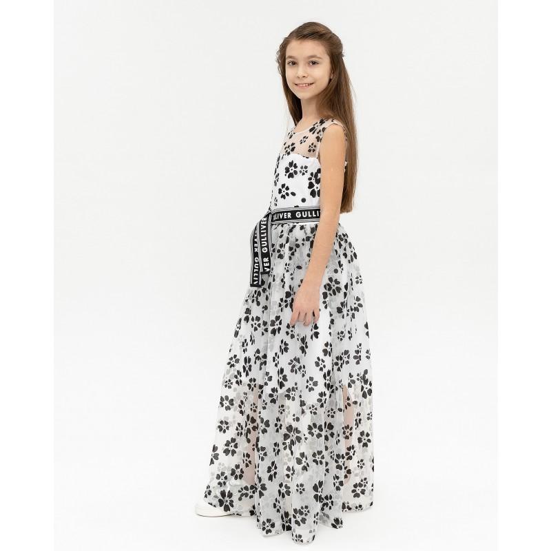 Белое нарядное платье с принтом Gulliver (фото 3)
