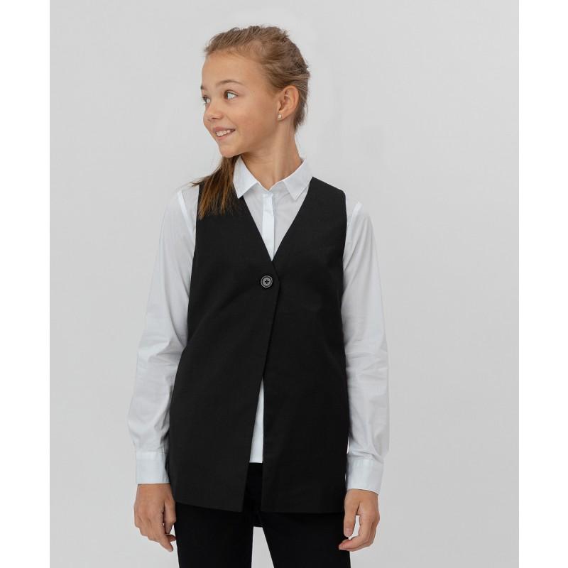 Черный удлиненный жилет Button Blue