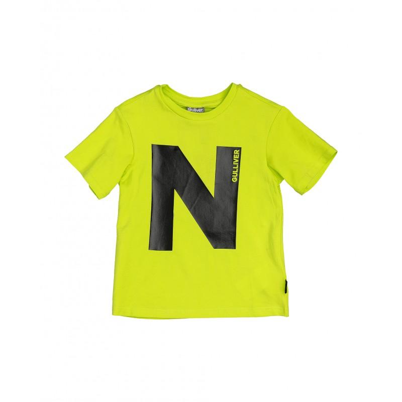 Салатовая футболка с принтом Gulliver