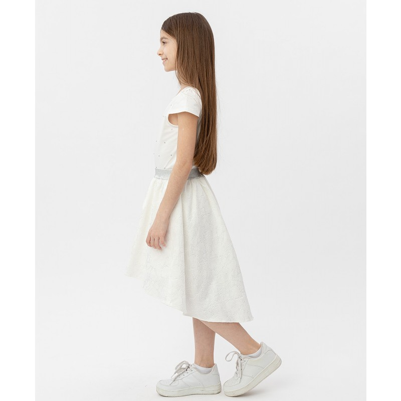 Белая жаккардовая юбка на резинке Button Blue (фото 3)