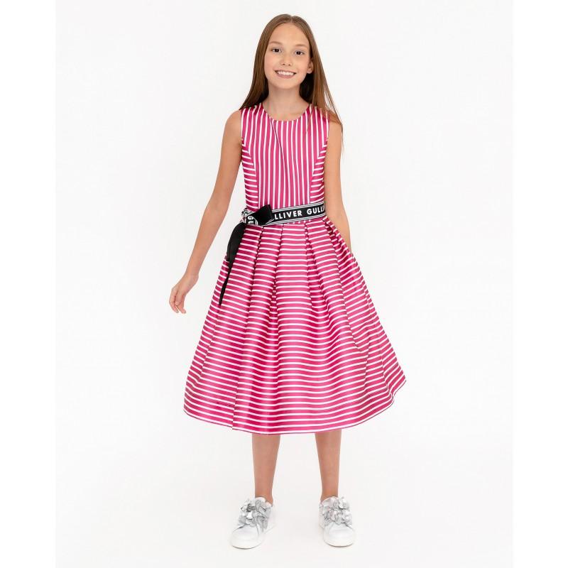 Розовое нарядное платье в полоску Gulliver
