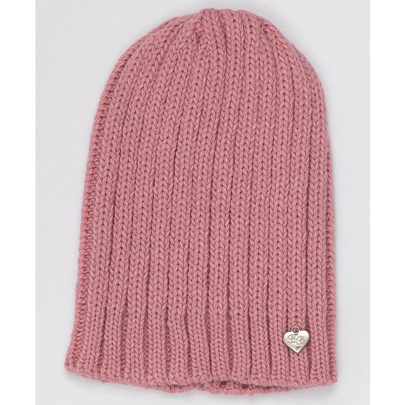 Розовая вязаная шапка Button Blue