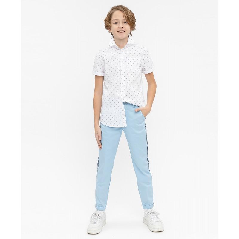Белая нарядная рубашка с коротким рукавом Button Blue (фото 2)
