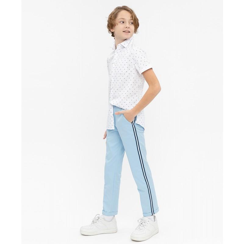 Белая нарядная рубашка с коротким рукавом Button Blue (фото 3)
