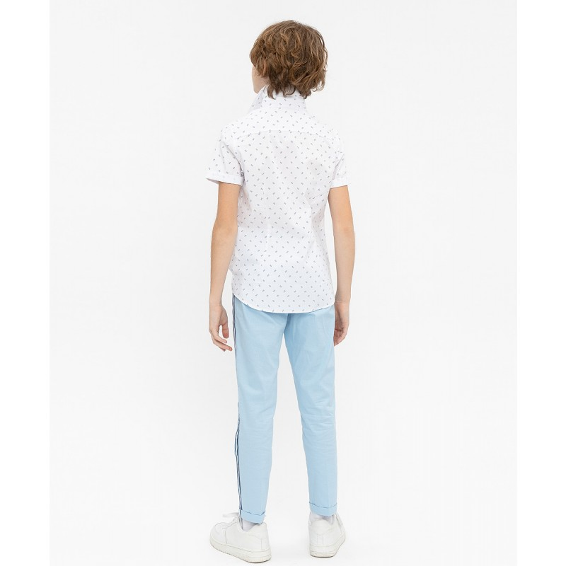 Белая нарядная рубашка с коротким рукавом Button Blue (фото 4)