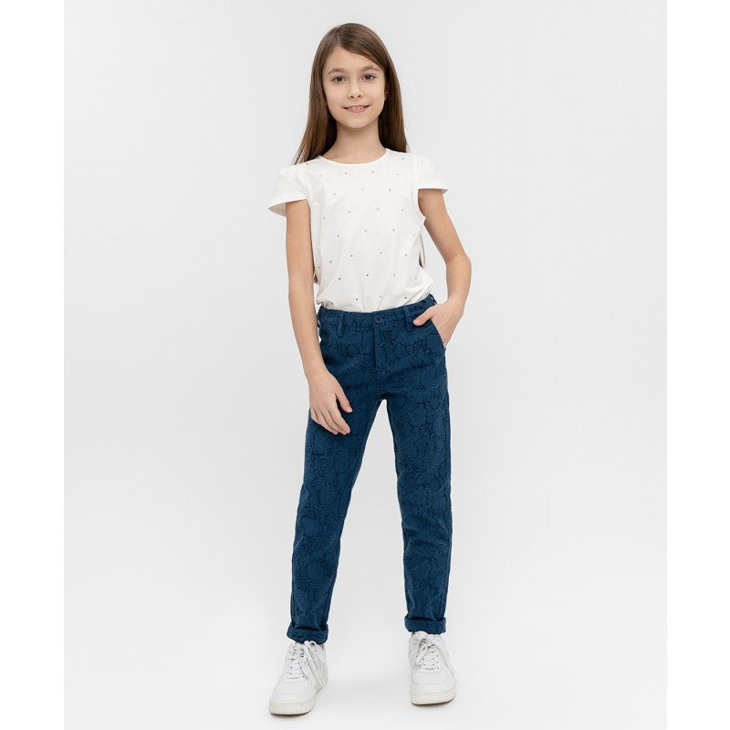Синие жаккардовые брюки Button Blue