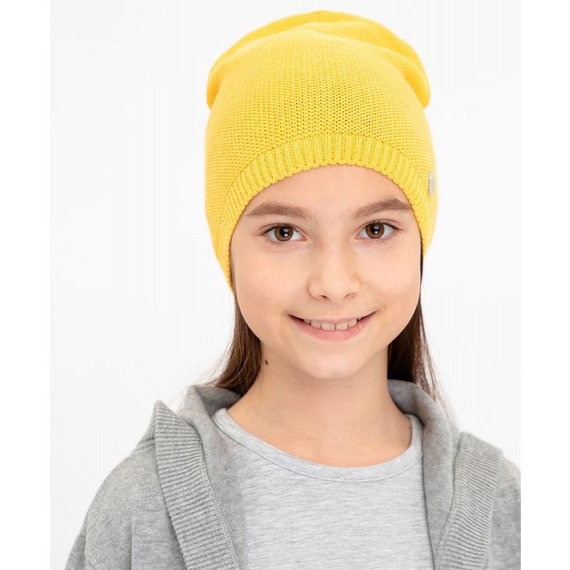 Желтая вязаная шапка Button Blue