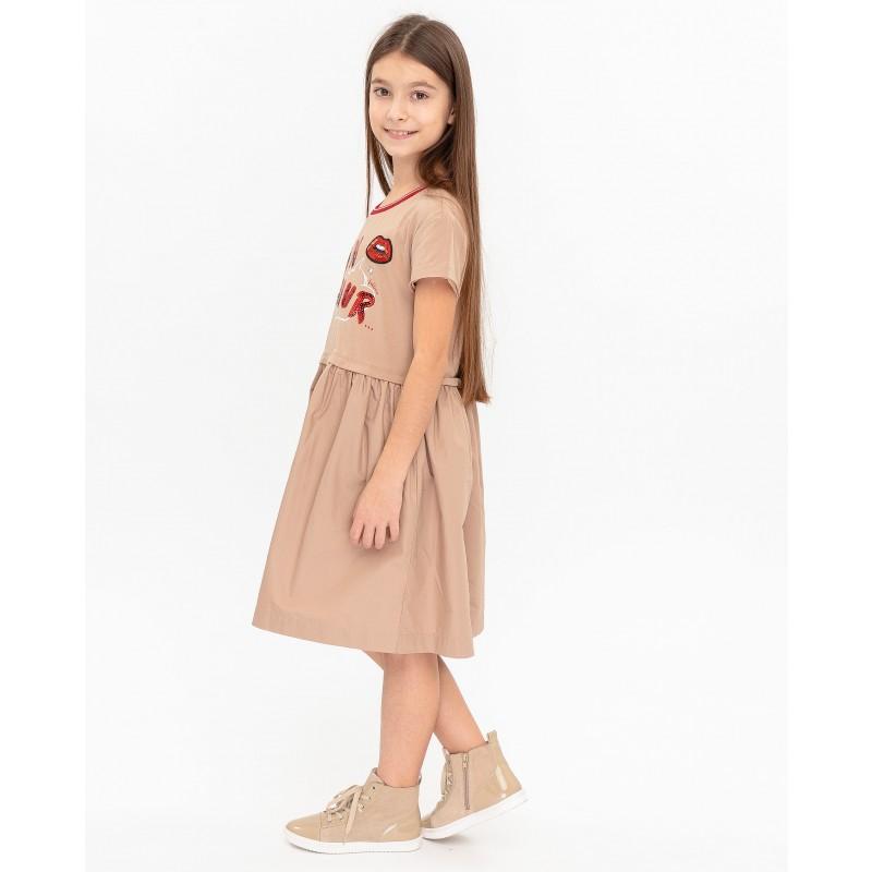 Бежевое платье с принтом Gulliver (фото 3)