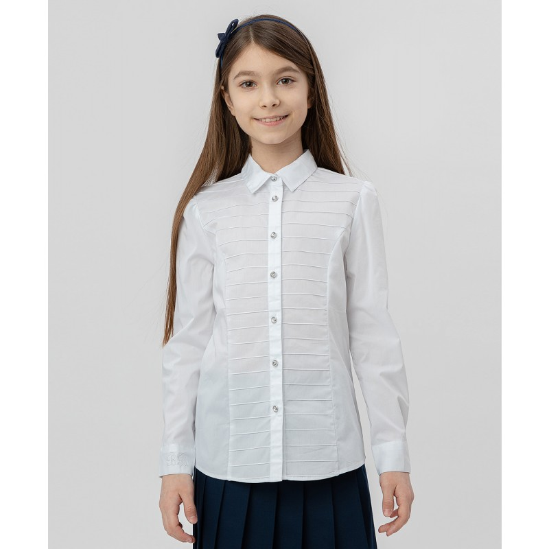 Белая рубашка с пуговицами-стразами Button Blue