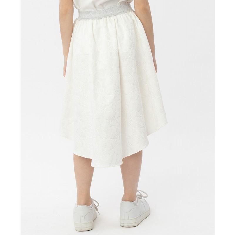 Белая жаккардовая юбка на резинке Button Blue (фото 4)
