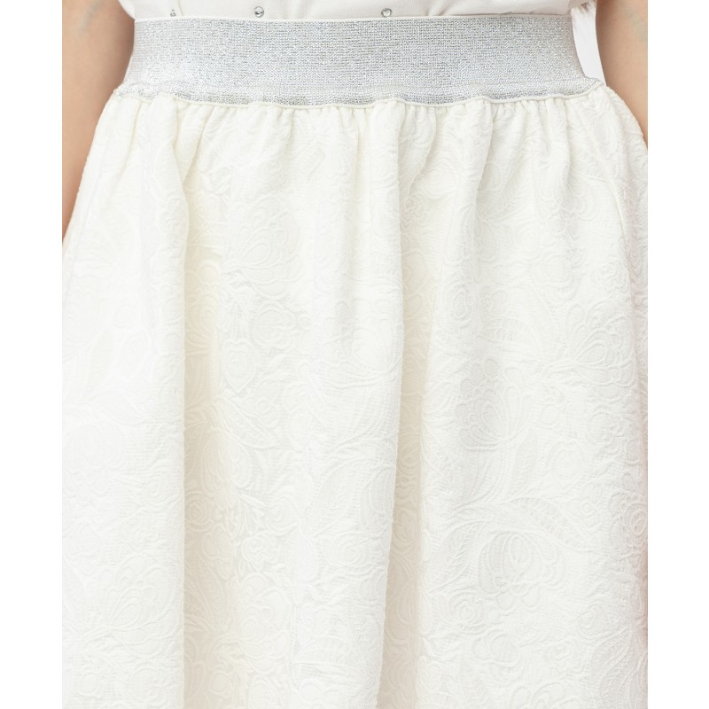 Белая жаккардовая юбка на резинке Button Blue (фото 5)