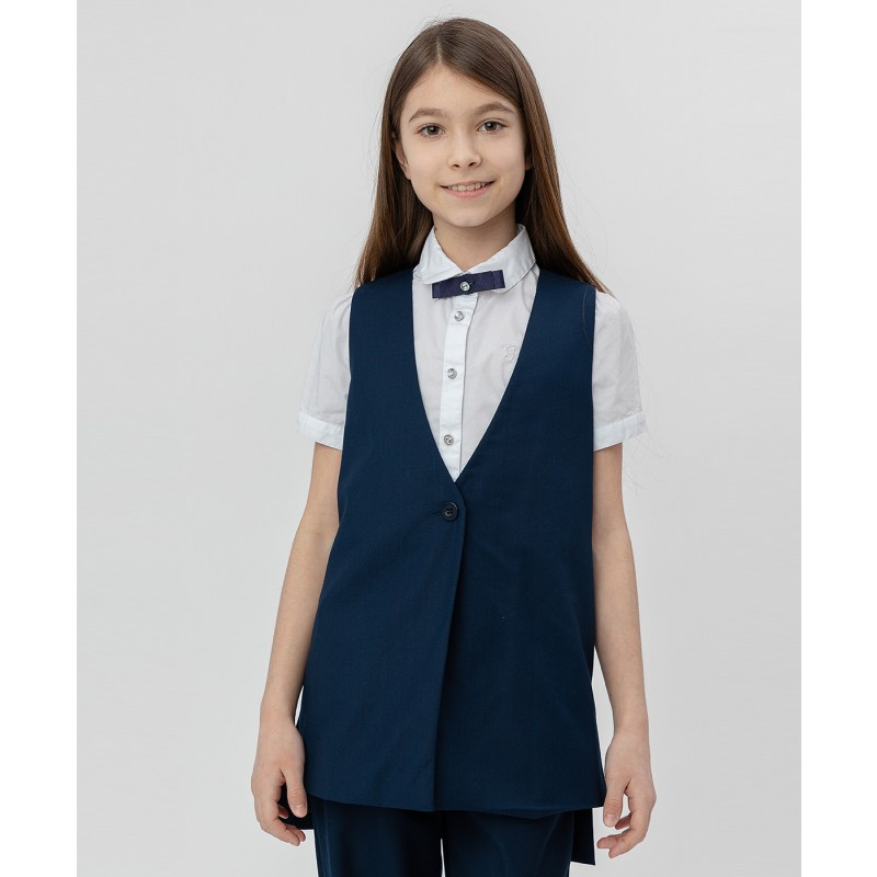 Синий удлиненный жилет Button Blue