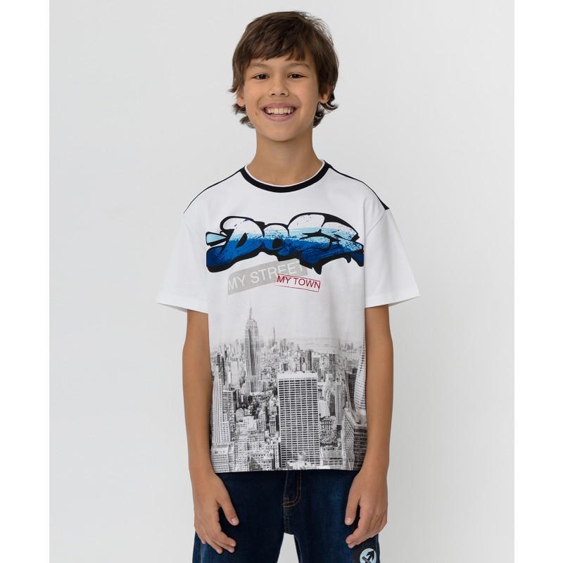 Черно-белая футболка с принтом Button Blue