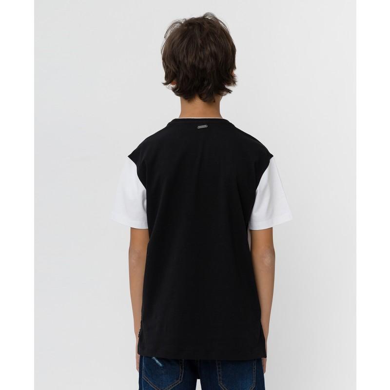 Черно-белая футболка с принтом Button Blue (фото 2)
