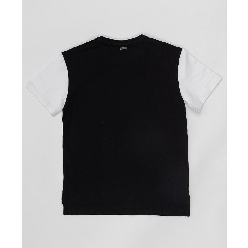 Черно-белая футболка с принтом Button Blue (фото 4)