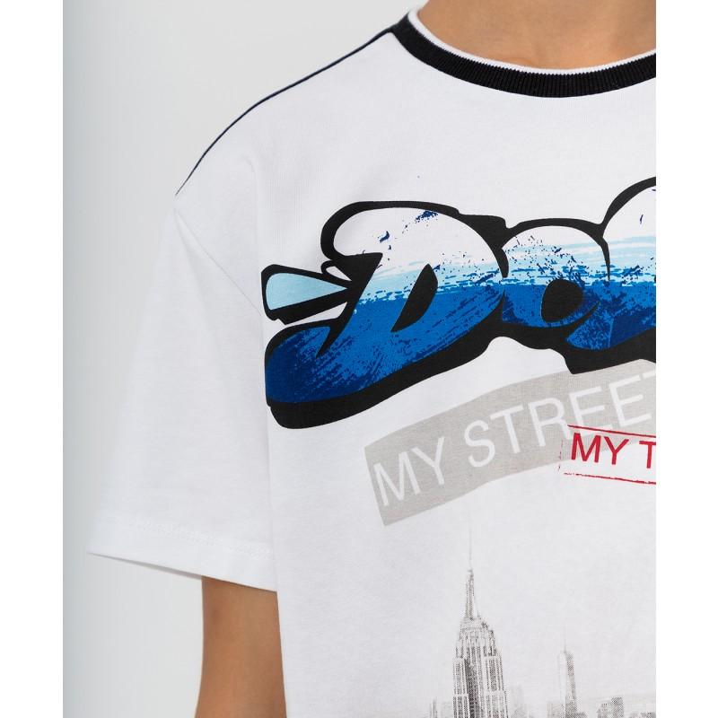 Черно-белая футболка с принтом Button Blue (фото 5)