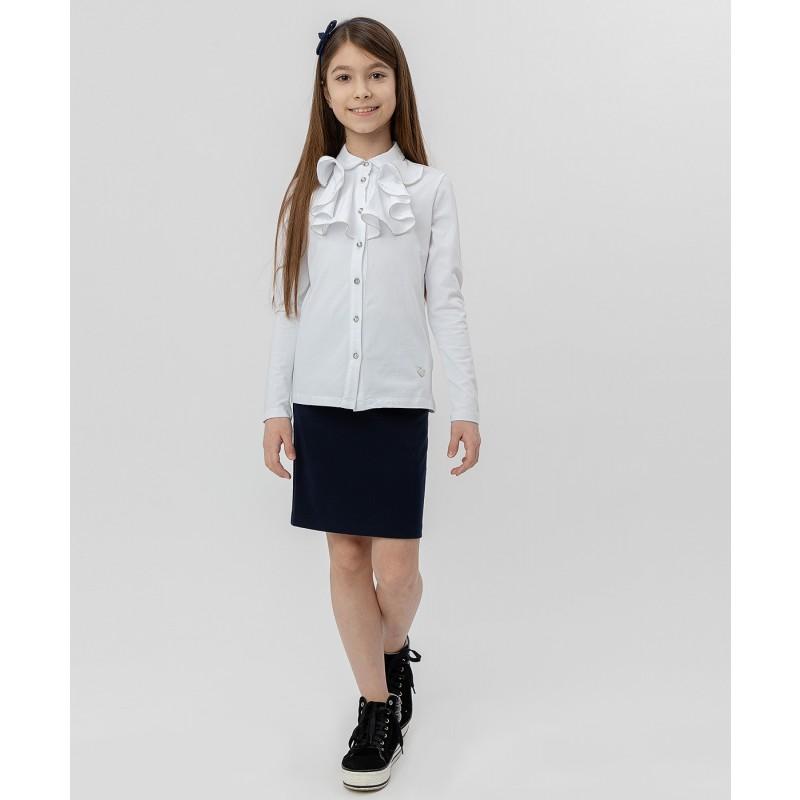 Белая блузка с жабо Button Blue