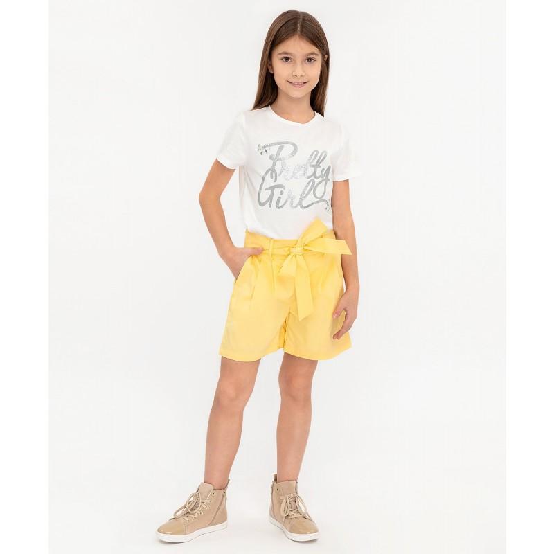 Желтые шорты с поясом Button Blue