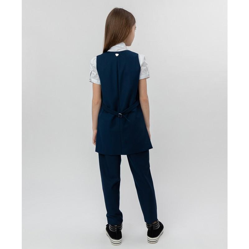 Синий удлиненный жилет Button Blue (фото 4)