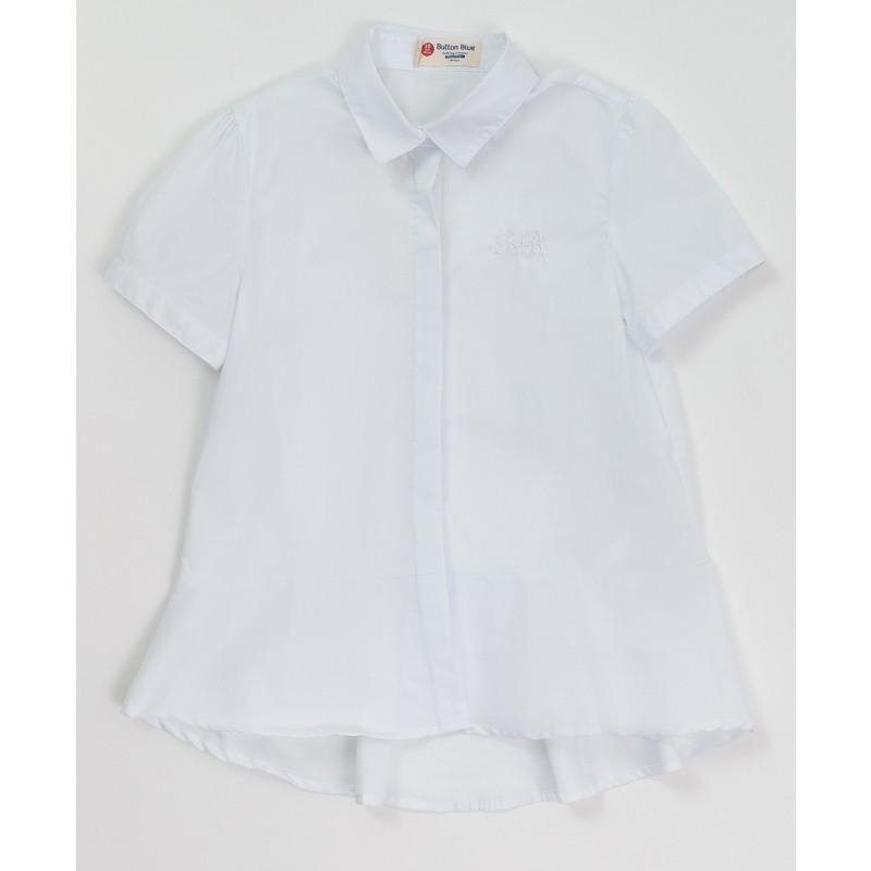 Белая блузка с коротким рукавом Button Blue