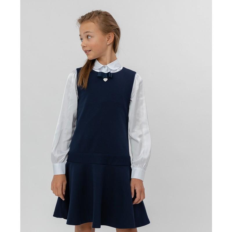 Синее трикотажное платье Button Blue