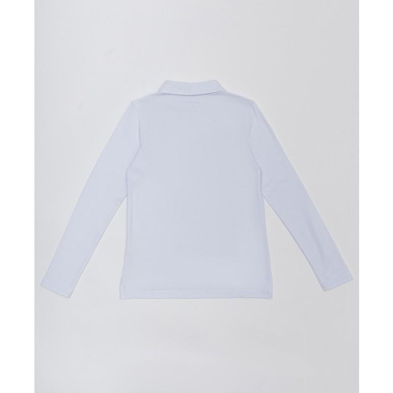 Белое поло с длинным рукавом Button Blue (фото 2)