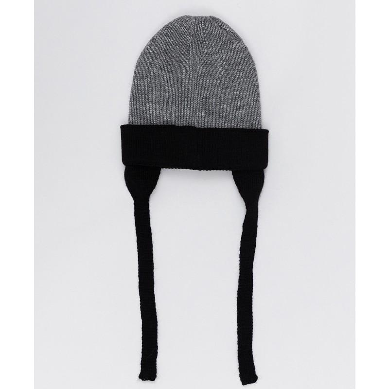 Принтованная серая шапка с завязками Button Blue (фото 2)