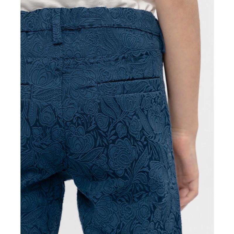 Синие жаккардовые брюки Button Blue (фото 5)