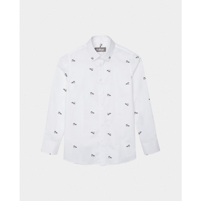 Белая рубашка с принтом Gulliver (фото 3)