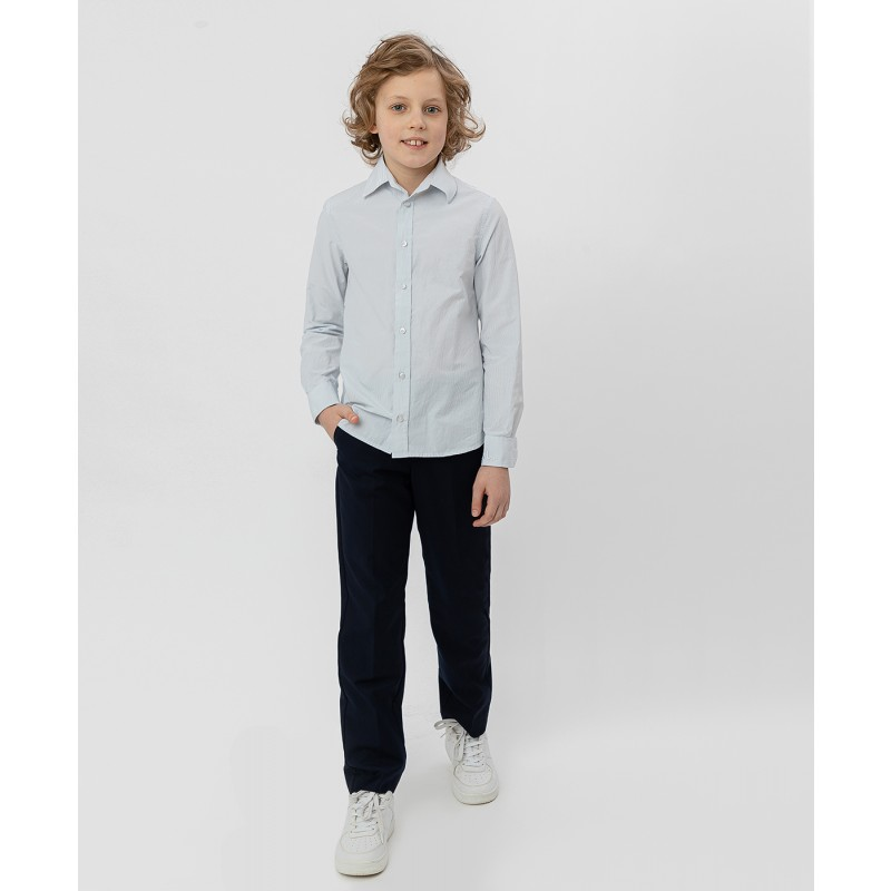Серая рубашка в полоску Button Blue (фото 2)
