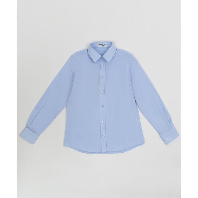 Голубая фактурная рубашка Button Blue