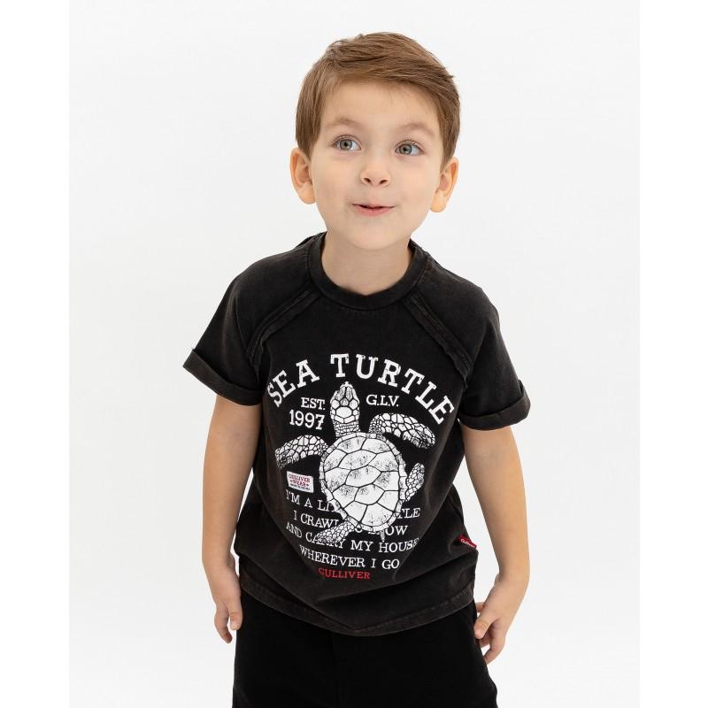 Черная футболка с принтом Gulliver