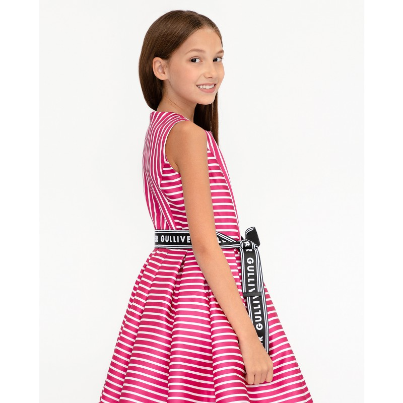 Розовое нарядное платье в полоску Gulliver (фото 2)