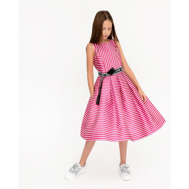Розовое нарядное платье в полоску Gulliver (фото 3)