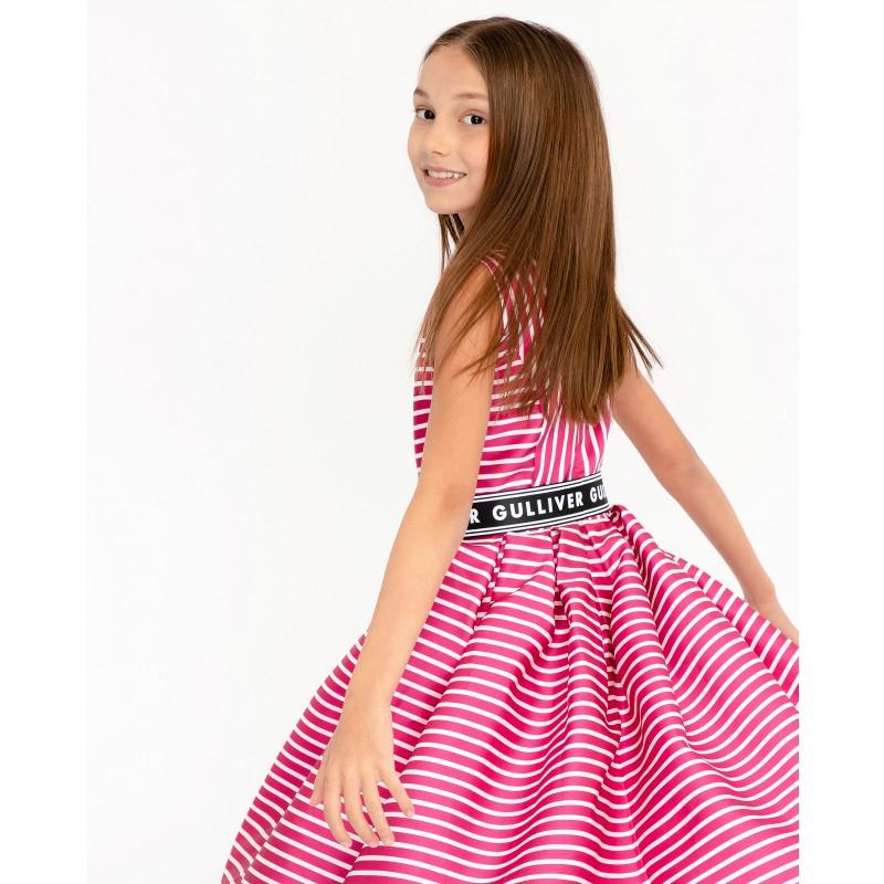 Розовое нарядное платье в полоску Gulliver (фото 4)