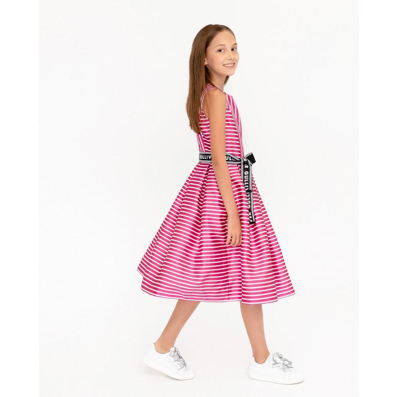 Розовое нарядное платье в полоску Gulliver (фото 5)