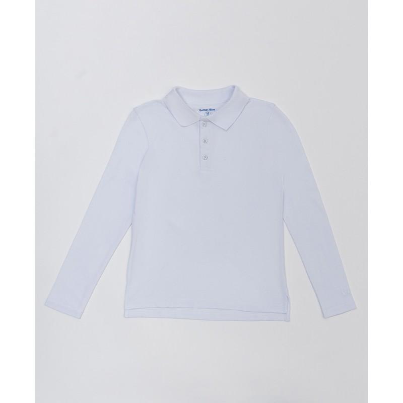 Белое поло с длинным рукавом Button Blue