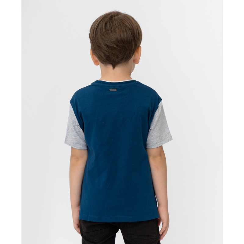 Серо-синяя футболка с принтом Button Blue (фото 2)