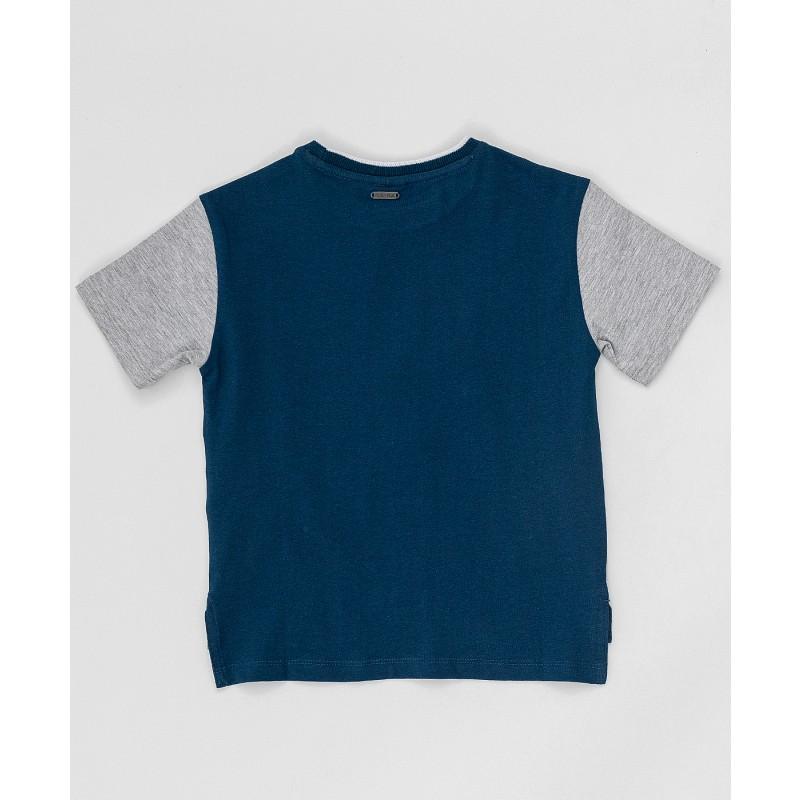 Серо-синяя футболка с принтом Button Blue (фото 4)