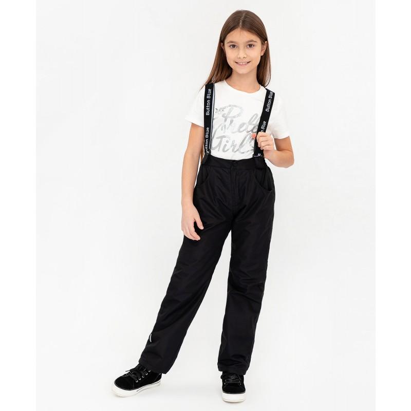 Черные демисезонные брюки Button Blue (фото 2)