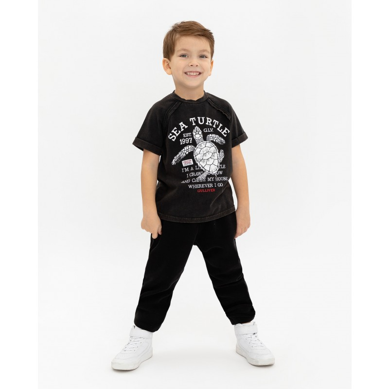 Черная футболка с принтом Gulliver (фото 2)