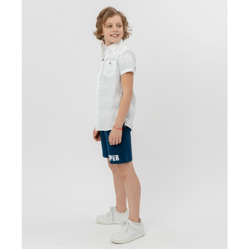 Белая рубашка с коротким рукавом Button Blue (фото 3)