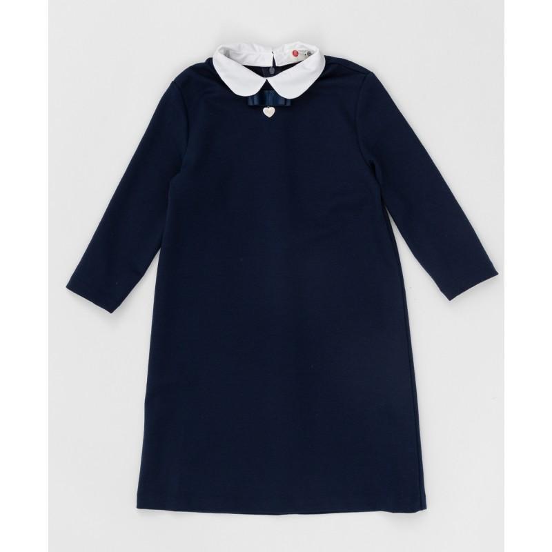 Синее платье с рукавом 3/4 Button Blue